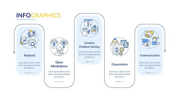 Creatief denken typen infographic sjabloon.