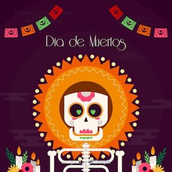 Creatief dia de muertos achtergrondontwerp