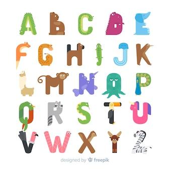 Creatief dier alfabet plat ontwerp