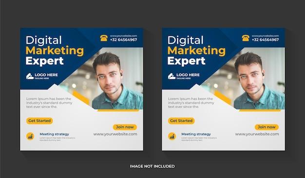 Creatief digitaal marketingbureau voor social media postontwerp met bedrijfspromotie en bewerkbare sjabloon voor zakelijke vierkante flyers