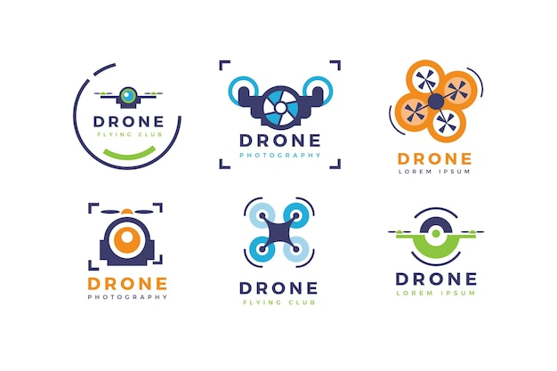 Creatief drone-logo sjabloonpakket