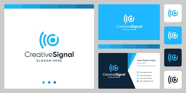 Creatief eerste letter d-logo met wifi-signaallogo. ontwerpsjabloon voor visitekaartjes