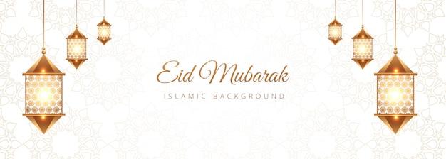 Creatief eid mubarak islamitisch bannerontwerp