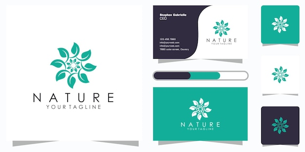 Creatief elegant bloemenbladelementlogo en visitekaartje. logo voor schoonheid, cosmetica, yoga en spa