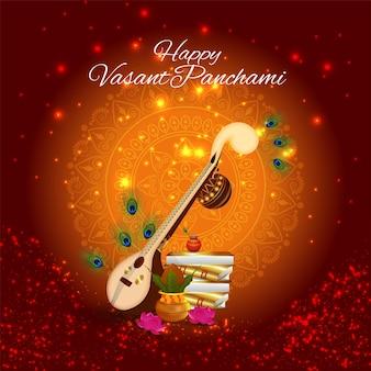 Creatief element veena voor gelukkige vasant panchami-vieringsachtergrond