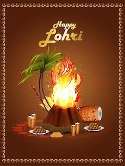 Creatief element voor happy lohri, sikh festivalviering met vreugdevuur en suikerriet