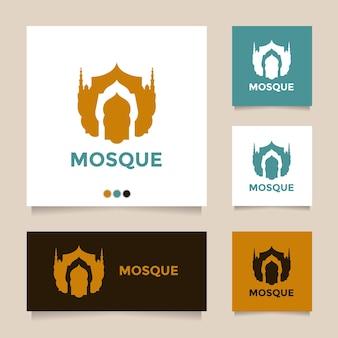 Creatief en geweldig idee minimalistisch vector moskee logo-ontwerp
