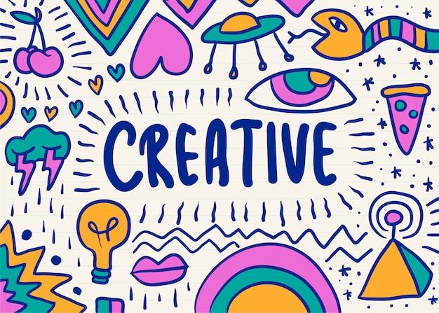 Creatief en kleurrijk gekrabbel grafisch