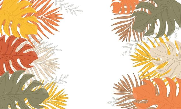 Creatief frame gemaakt van kleurrijke tropische bladeren op een witte achtergrond.