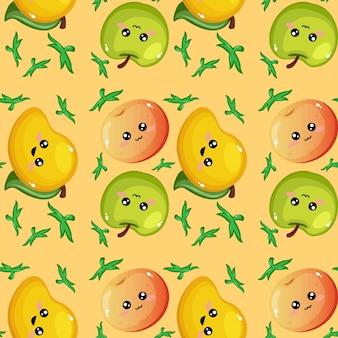 Creatief fruit emoticon patroon achtergrondbehang