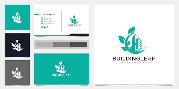Creatief gebouw en bladlogo ontwerpconcept