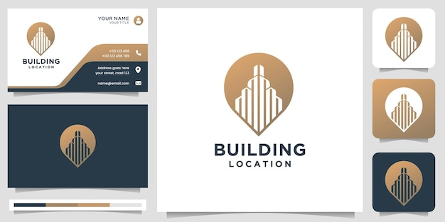 Creatief gebouw logo met locatie pin marker concept. inspiratie voor logo en visitekaartjesjabloon