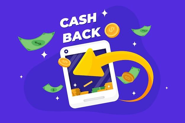Creatief geïllustreerd cashbackconcept