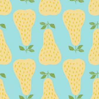 Creatief geometrisch geel peren naadloos patroon in krabbelstijl.