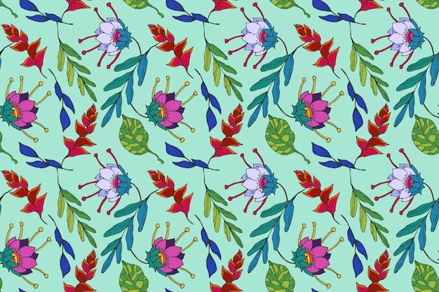 Creatief geschilderd exotisch bloemenpatroon