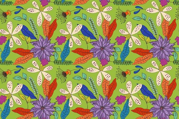 Creatief geschilderd tropisch bloemenpatroon