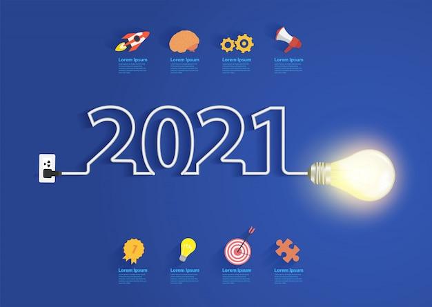 Creatief gloeilampidee met nieuwjaarsontwerp voor 2021