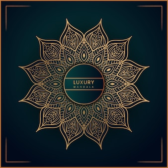 Creatief gouden luxe mandala-achtergrondontwerp met premium vector