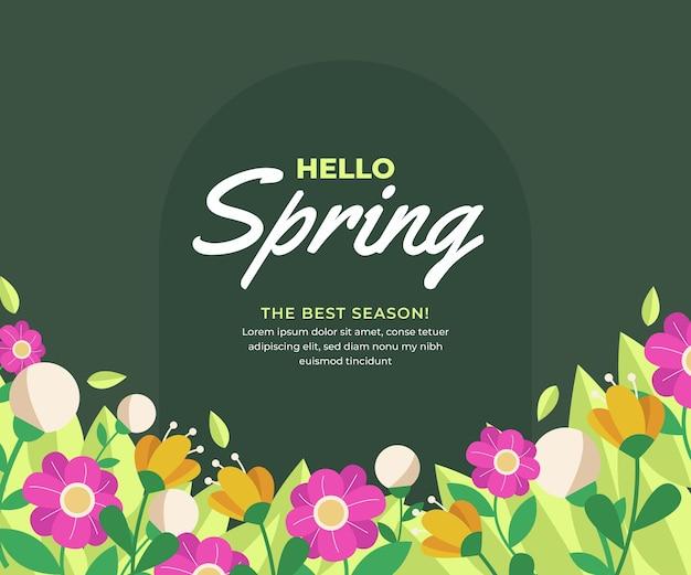 Creatief hallo lentebericht met geïllustreerde bloemen