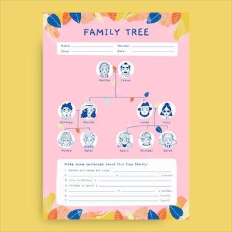 Creatief handgetekend boomfamilie werkblad