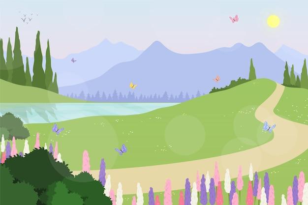 Creatief handgetekend lentelandschap