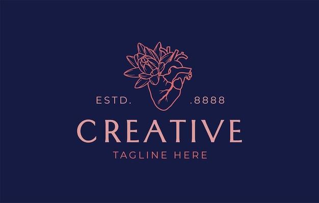 Creatief hart bloem lijn logo ontwerpsjabloon