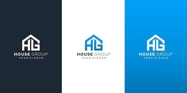 Creatief huisgroep logo-ontwerp