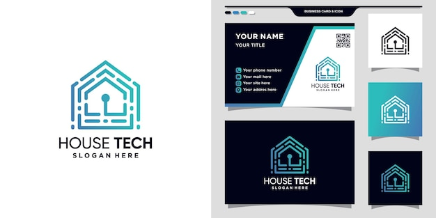 Creatief huistechnologielogo met unieke lineaire stijl en visitekaartjeontwerp