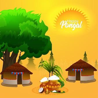 Creatief hutconcept voor happy pongal met modderpot