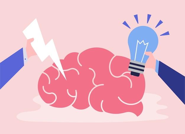 Creatief idee en denkend hersenenpictogram
