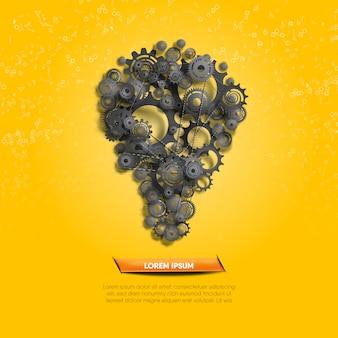 Creatief idee geïllustreerd door functie van zwarte tandwielen en radertjes op gele geometrieachtergrond.
