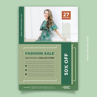 Creatief idee groene flyer ontwerpsjabloon met a4-formaat voor promotie van uw modeproduct