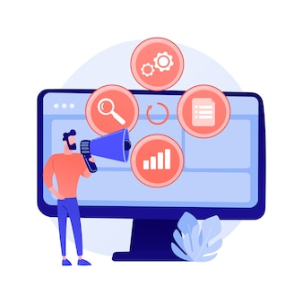 Creatief idee platte pictogram. innovatief internetproject, online promotie. vrouw met luidspreker cartoon karakter concept illustratie