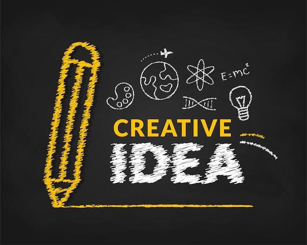 Creatief ideeënconcept met doodle potlood en typografie belettering achtergrond inspiratie