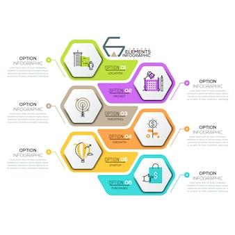 Creatief infographic ontwerpsjabloon met 6 zeshoekige elementen
