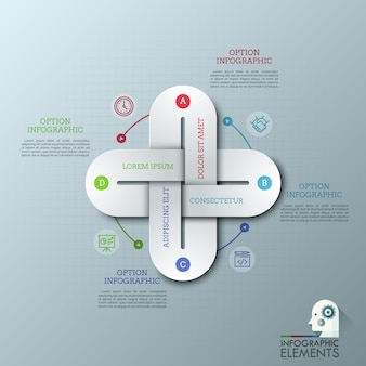 Creatief infographic ontwerpsjabloon met vier veelkleurige met elkaar verbonden kettingschakels, dunne lijnpictogrammen en tekstvakken.