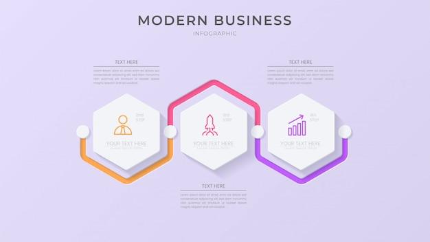 Creatief infographic proceselement met pictogram en bewerkbare tekst