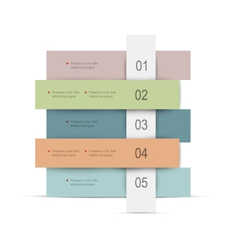 Creatief infographicsmalplaatje met gekleurde banners