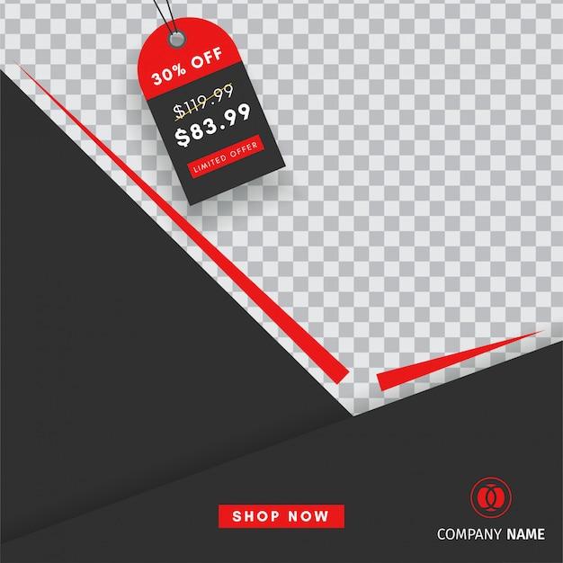 Creatief instagram-postverkoopsjabloon met een lege abstracte banner