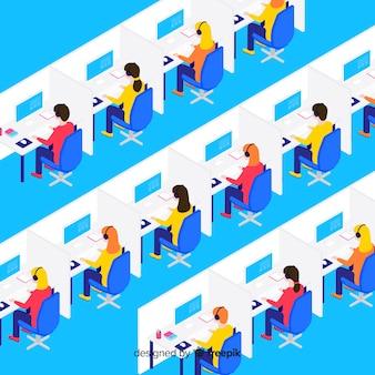 Creatief isometrisch ontwerp van call centre