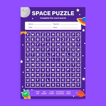 Creatief, kinderlijk werkblad voor de ruimteweek