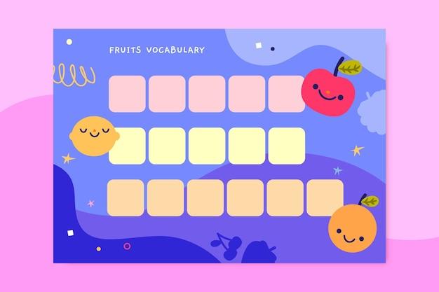 Creatief kinderlijk werkblad voor woordenschat