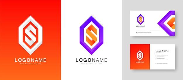 Creatief kleurrijk eerste s- of o-letterlogo met premium visitekaartjeontwerp