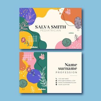 Creatief kleurrijk salva kinderarts visitekaartje Gratis Vector