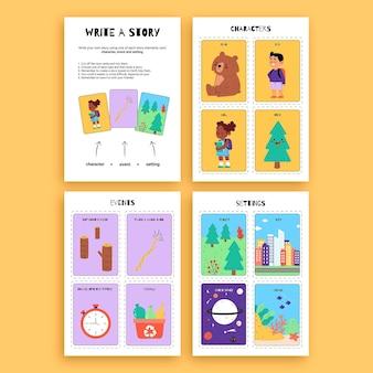 Creatief kleurrijk schrijven van een werkblad over de aard van het verhaal