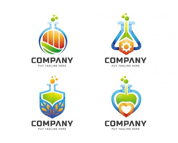 Creatief kleurrijk science lab-logo
