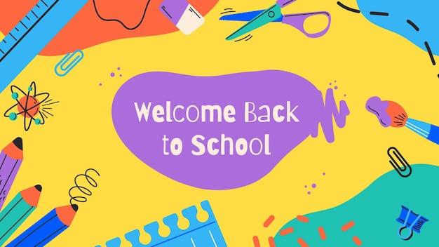 Creatief kleurrijk welkom terug op schoolzoomachtergrond