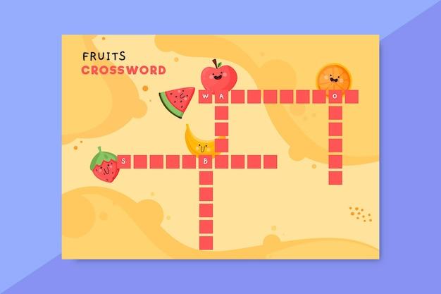 Creatief kleurrijk werkblad voor kruiswoordraadselvoedsel