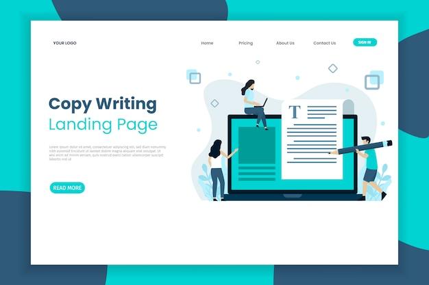 Creatief kopiëren schrijven bestemmingspagina website sjabloon