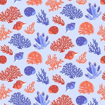 Creatief koraalpatroon met verschillende zee-elementen